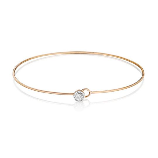 Phillips House 14K Rose Gold Round Diamond Circle Infinity Love Always Wire Bangle Bracelet