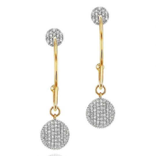 Phillips House 14K Yellow Gold Diamond Disc Infinity Open Hoop Earrings