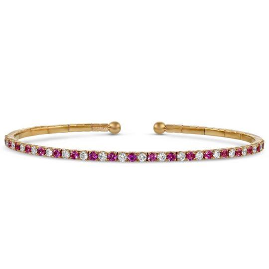 18K Rose Gold Pink Sapphire & Diamond Cuff Bracelet