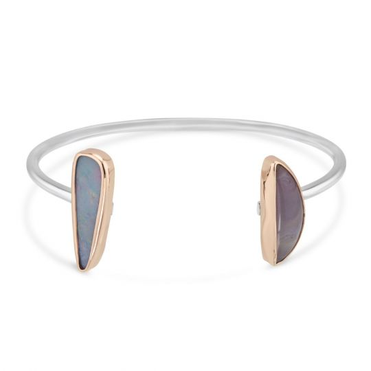 Melissa Joy Manning Sterling Silver Boulder Opal & Purple Agate Cuff Bracelet