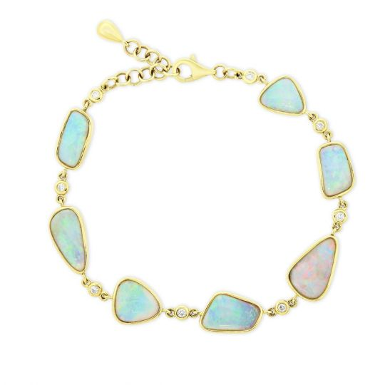 14K Yellow Gold Alternating Opal & Diamond Bracelet