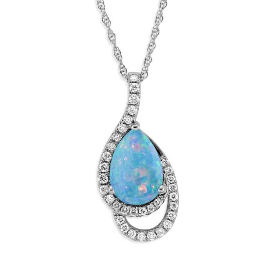 14K White Gold Pear Shaped Opal & Diamond Pendant