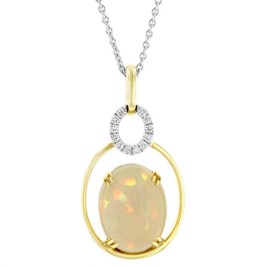 18K Yellow & White Gold Oval Opal & Diamond Open Halo Pendant