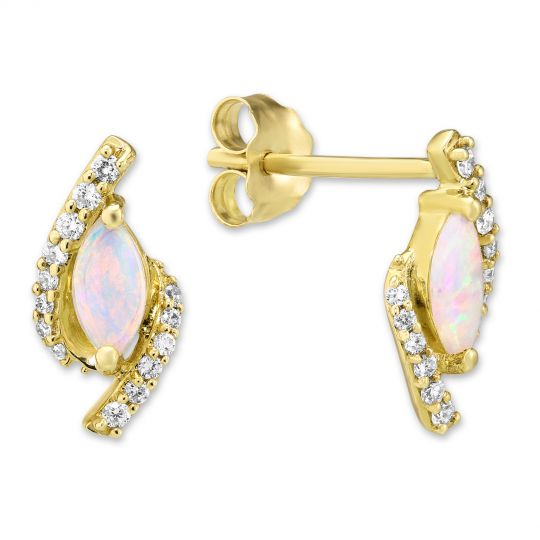 14K Yellow Gold Marquise Opal & Diamond Earrings
