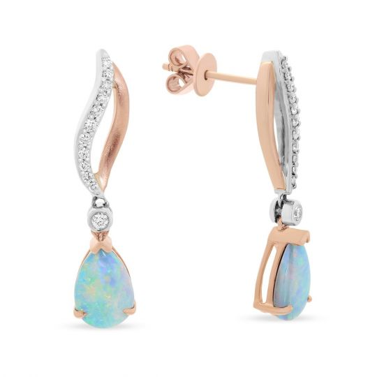 14K Rose & White Gold Pear Shaped Opal & Diamond Drop Earrings