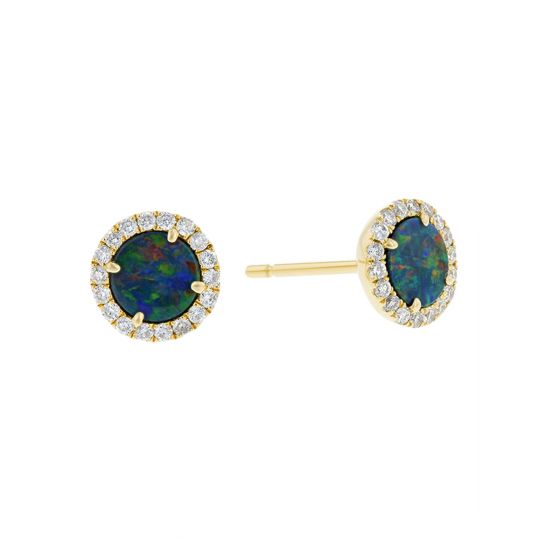 14K Yellow Gold Round Opal Doublet & Diamond Halo Stud Earrings