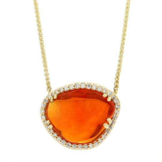 14K Yellow Gold Freeform Fire Opal & Diamond Halo Necklace