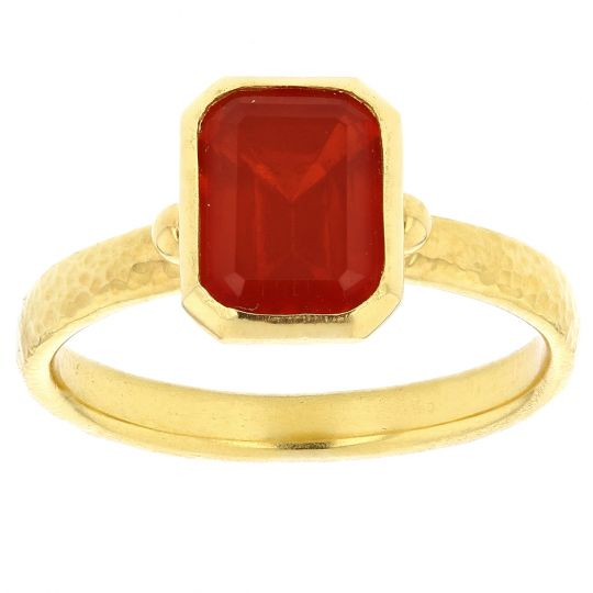 Gurhan 24K Yellow Gold Emerald Cut Mexican Fire Opal Hammered Bezel Ring