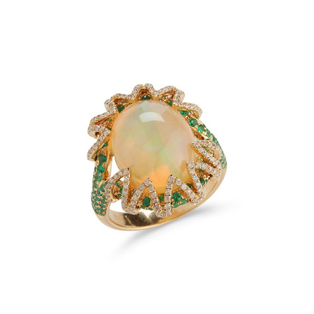 18K Yellow Gold Oval Cabochon Opal, Emerald & Diamond Ring