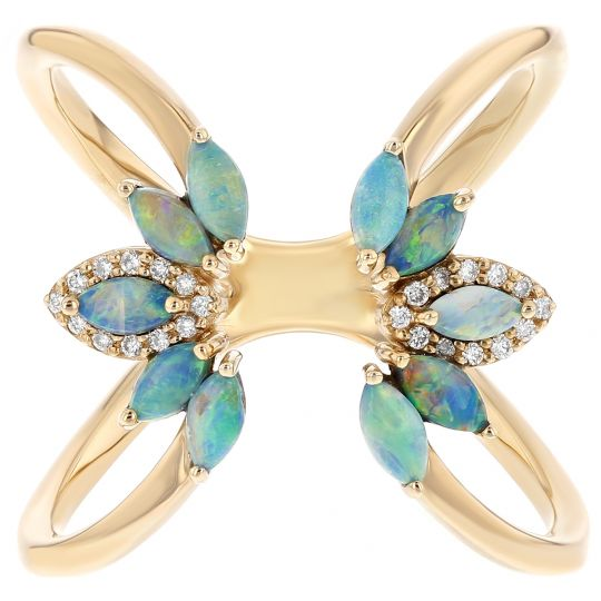 14K Yellow Gold Marquise Opal & Diamond Cuff Ring