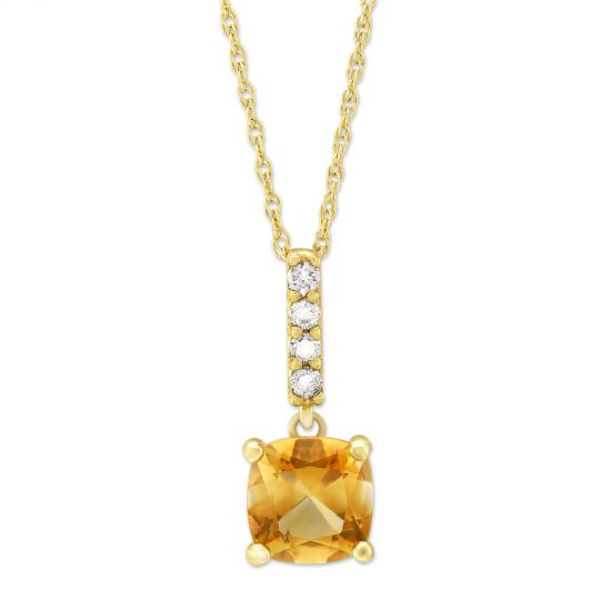 14K Yellow Gold Cushion Citrine & Diamond Pendant