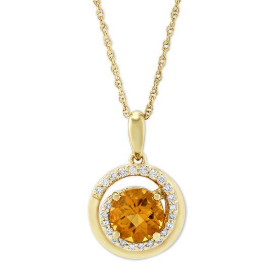 14K Yellow Gold Citrine & Diamond Swirl Pendant