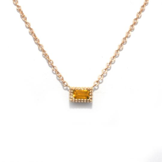 My Story 14K Yellow Gold Baguette Citrine Necklace