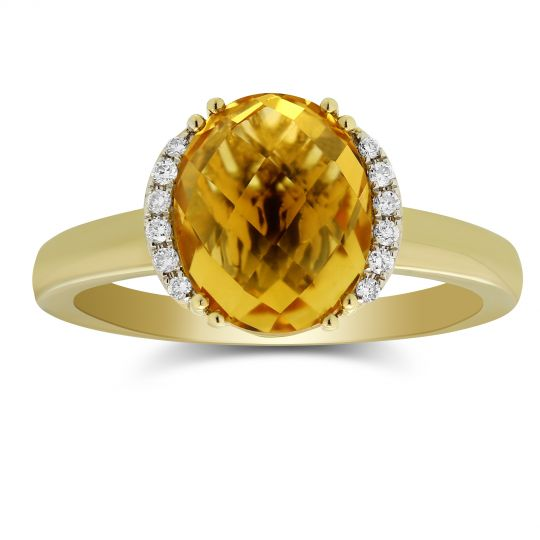 14K Yellow Gold Oval Checkerboard Citrine Diamond Ring