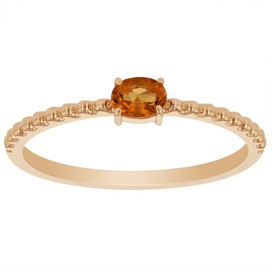 My Story 14K Yellow Gold East-West Oval Citrine Ring with Beaded Shank