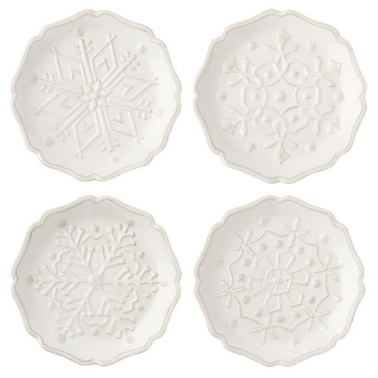 Juliska Berry & Thread Snowfall Whitewash Party Plate Set of 4