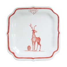 Juliska Country Estate Ruby Reindeer Games Party Plate, Rudolph