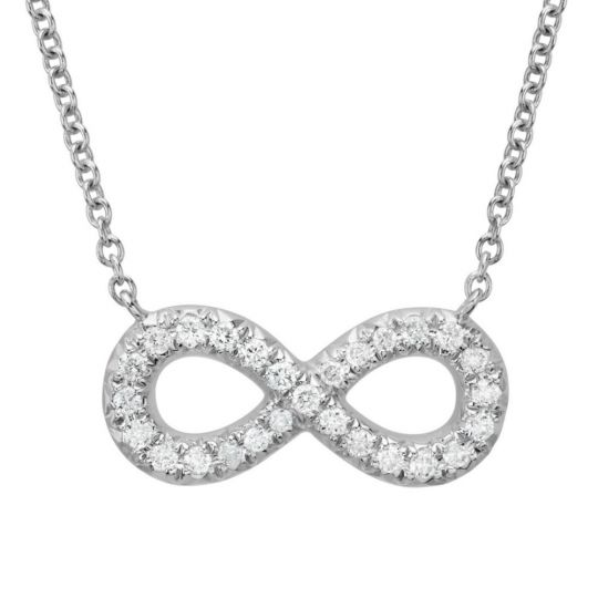 14K White Gold Diamond Infinity Necklace, 18""
