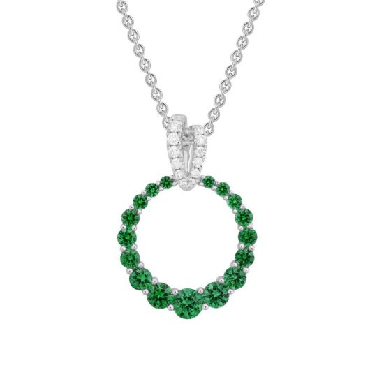 14K White Gold Emerald Open Graduated Circle Pendant with Diamond Bail, 18""