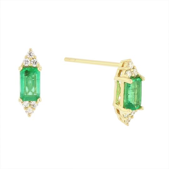 14K Yellow Gold Emerald Cut Emerald & Diamond Cluster Post Earrings