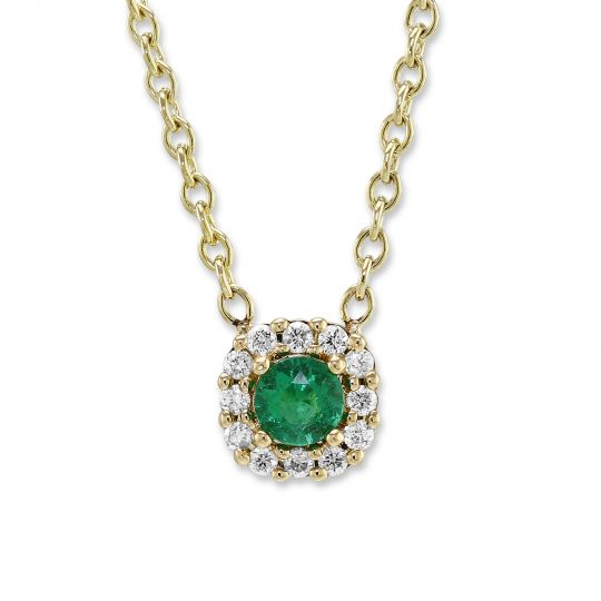 14K Yellow Gold Round Emerald & Diamond Halo Petite Necklace, 18""