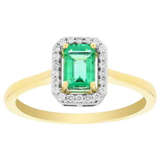 14K Yellow & White Gold Emerald Cut Emerald & Diamond Frame Ring