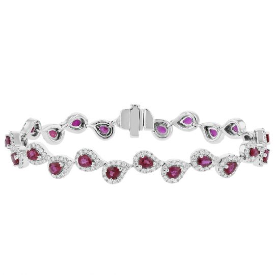 14K White Gold Pear Shaped Ruby & Diamond Halo Bracelet