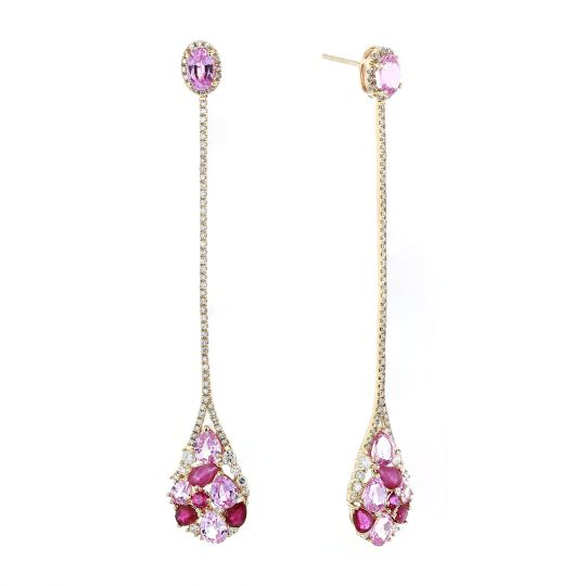 14K Yellow Gold Multi Shape Ruby, Pink Sapphire, & Diamond Long Drop Earrings