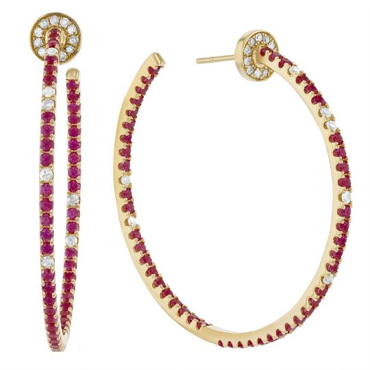 14K Yellow Gold Ruby & Diamond Inside Out Hoop Earrings