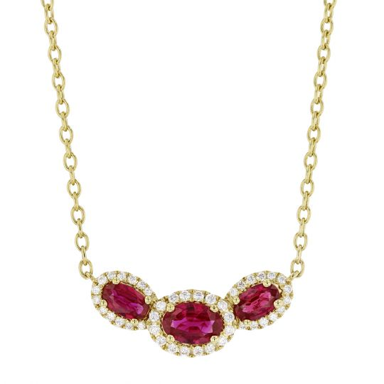14K Yellow Gold Oval Ruby & Diamond Necklace, 18""