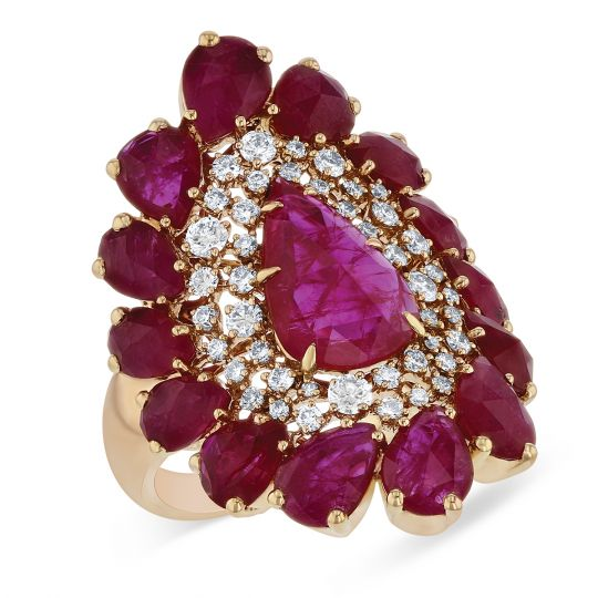 SUTRA 18K Rose Gold Rosecut Pear Shaped Ruby & Diamond Saddle Ring