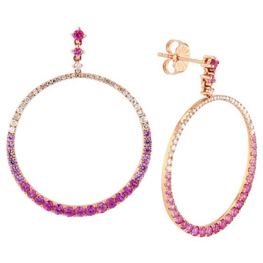 14K Rose Gold Sapphire & Diamond Hoop Drop Earrings