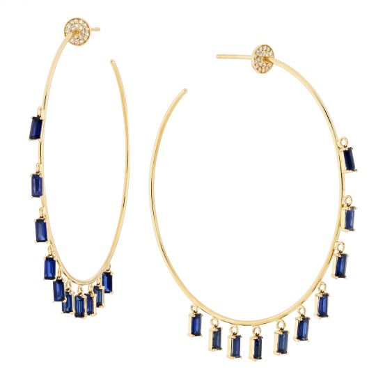 14K Yellow Gold Sapphire & Diamond Fringed Hoop Earrings