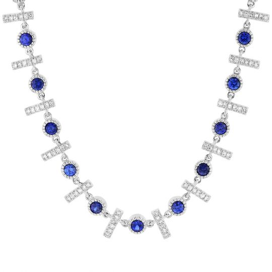 14K White Gold Sapphire & Diamond Fringed Necklace