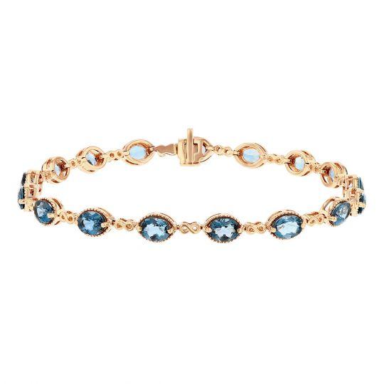 "14K Rose Gold Oval Blue Topaz Milgrain Infinity Link Bracelet, 7"""