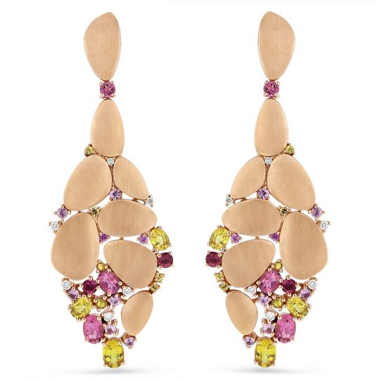 18K Rose Gold Diamond, Pink & Yellow Sapphire, & Pink Tourmaline Marble Drop Earrings