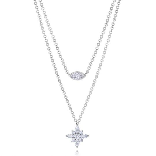 Kwiat 18K White Gold Marquise & Round Diamond Starburst Duet Necklace, 17""