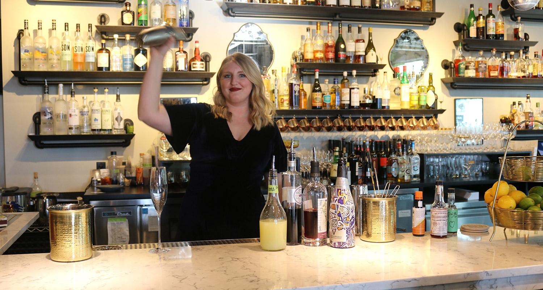 shaking up cocktails