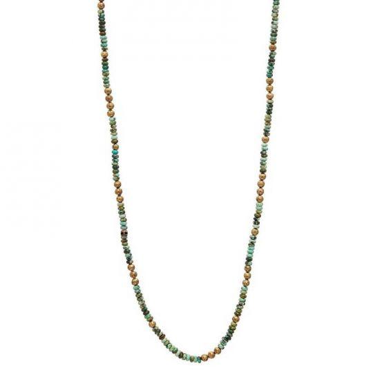 John Varvatos Brass Garnet Distressed Necklace with Skull Clasp