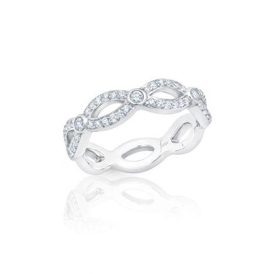 14K White Gold Diamond Infinity Twist Pave Wedding Band with Bezel Set Accent Diamonds