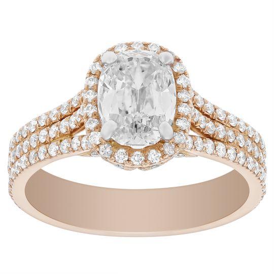 Elege 18K Rose Gold Elongated Cushion Diamond Ring with Halo & 3 Row Shank, 1.43 ct