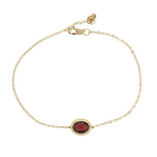 "14K Yellow Gold Oval Garnet Rope Bezel Set Bracelet, 7.5"""