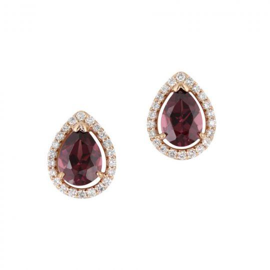 14K Rose Gold Rhodolite Garnet Pear Shaped & Diamond Halo Earrings