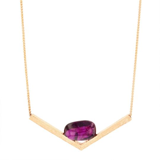 14K Rose Gold Cabochon Purple Garnet Chevron Hammered Necklace, 18.5""