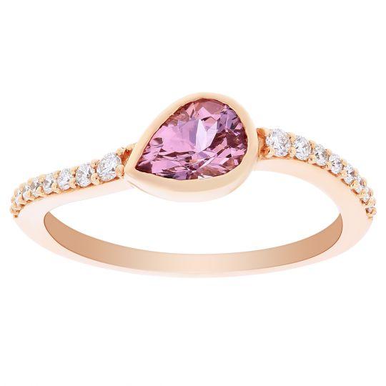 14K Rose Gold Pear Shaped Bezel Set Lotus Garnet & Diamond Curved Shank Ring