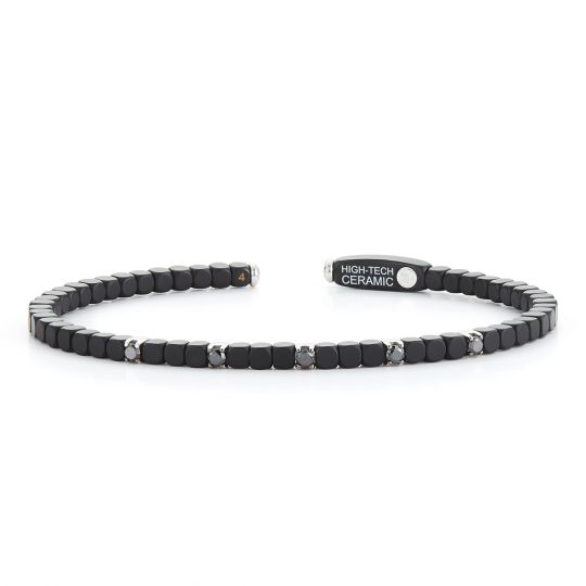 Roberto Demeglio 18K White Gold & Black Ceramic Black Diamond Dado Cuff Bracelet