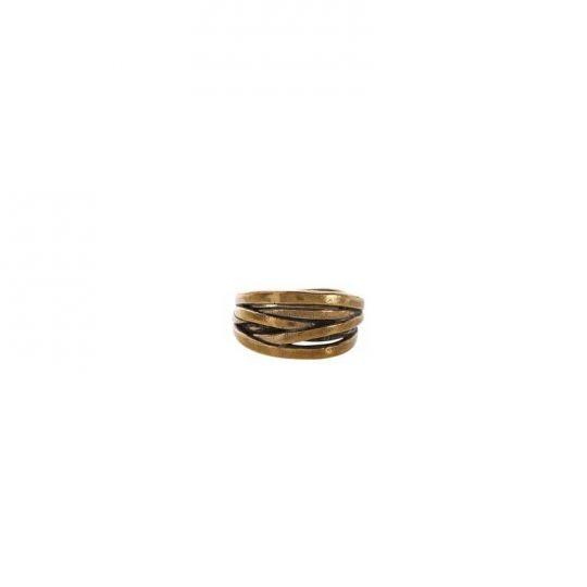 John Varvatos Brass Multi Row Plain Criss Cross Stripe Ring, SZ 10