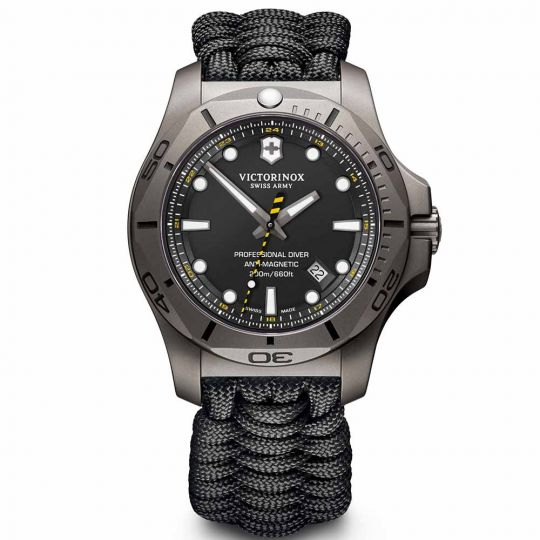 Swiss Army 45mm I.N.O.X Profressional Diver Titanium Watch, Black Textile Strap
