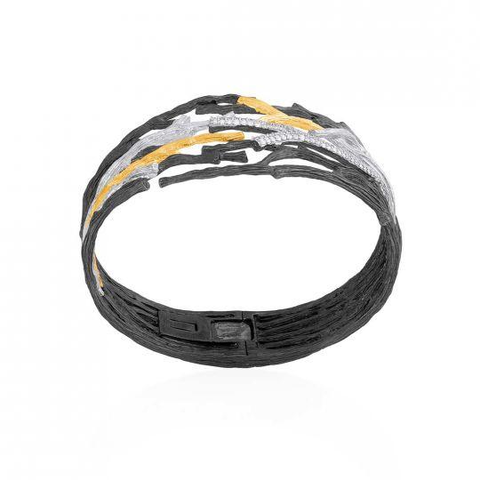 Michael Aram 18K Yellow Gold, Black Rhodium & Sterling Silver Diamond Cuff Bracelet