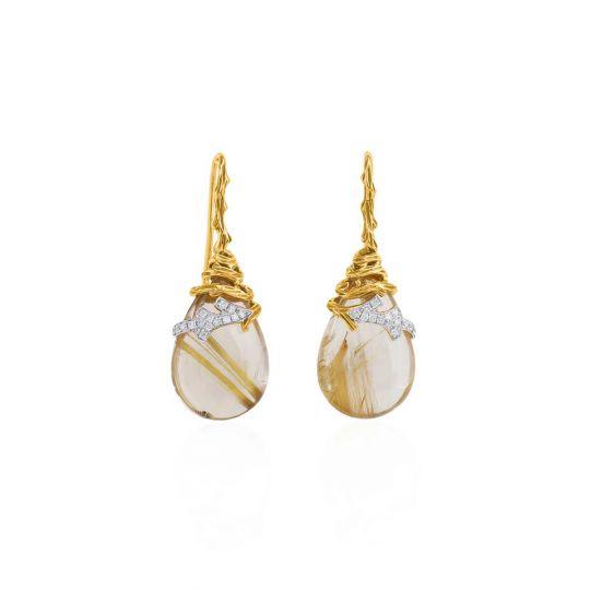 Michael Aram 18K Yellow Gold & Sterling Silver Diamond & Rutilated Quartz Drop Earrings